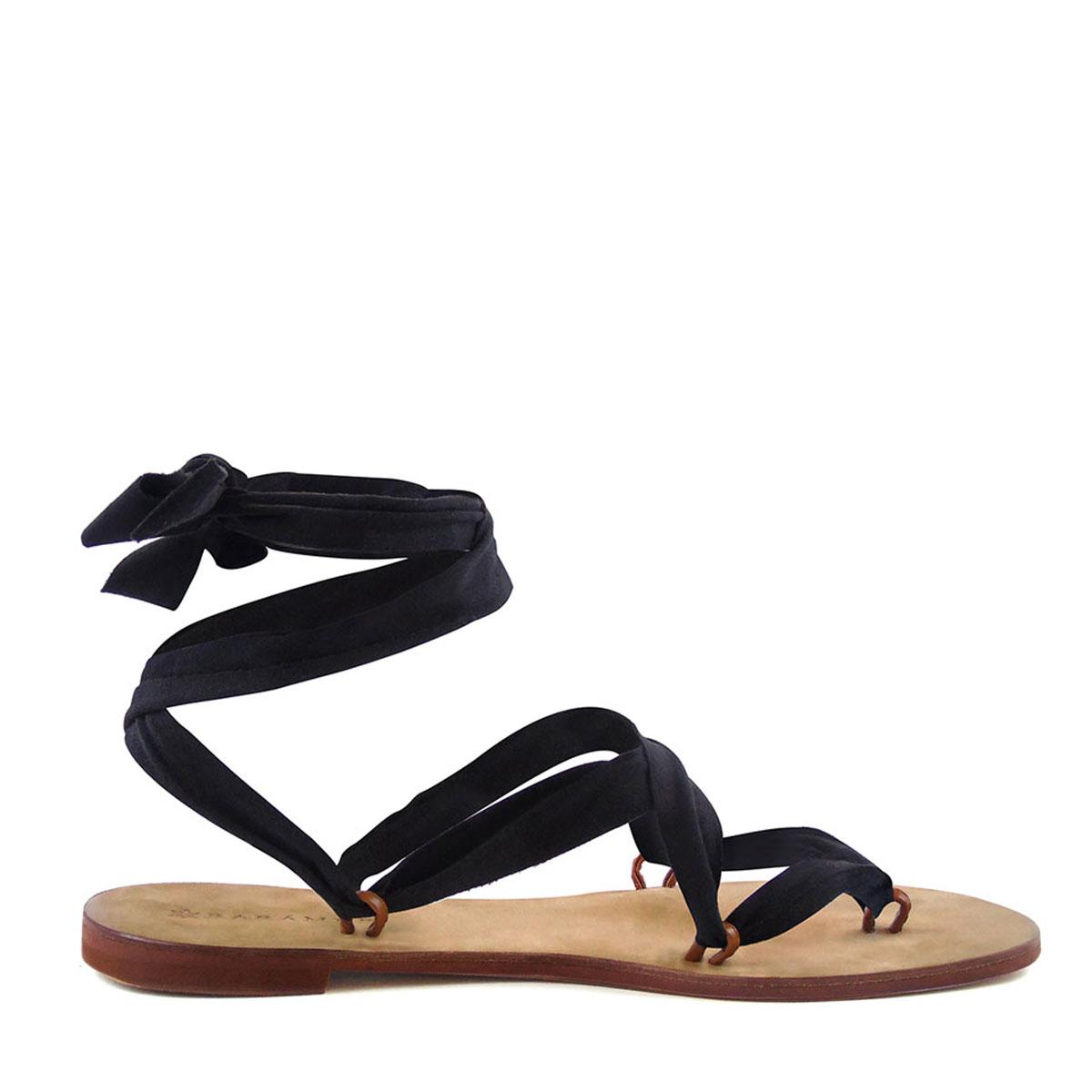 Black ribbon sandals - Raramuri Sandals Black Ribbon Suede